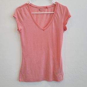 Guess V-neck Striped Short Sleeves Tee Size Large